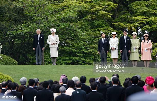 Japan's Emperor Akihito Empress Michiko Crown Prince Naruhito and his wife Princess Masako Prince Akishino and his wife Princess Kiko and Princess...