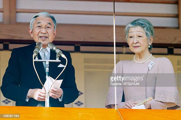 Japan's Emperor Akihito greets the public with Empress Michiko as he celebrates his 77th birthday held on December 23 2010 at the Imperial Palace in...