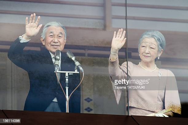 Japan's Emperor Akihito greets the public with Empress Michiko at the Imperial Palace on his 78th birthday on December 23 2011 in Tokyo Japan