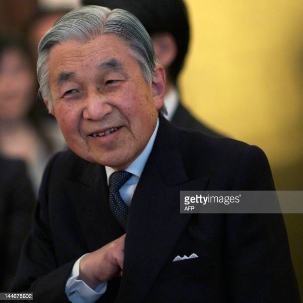 Japan's Emperor Akihito speaks at a reception in central London on May 17 2012 for support given to Japan after the earthquake and Tsunami of March...