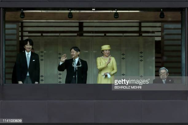 Japan's Emperor Naruhito and Empress Masako make their first public appearance after ascending to the throne along with Crown Prince Akishino and...