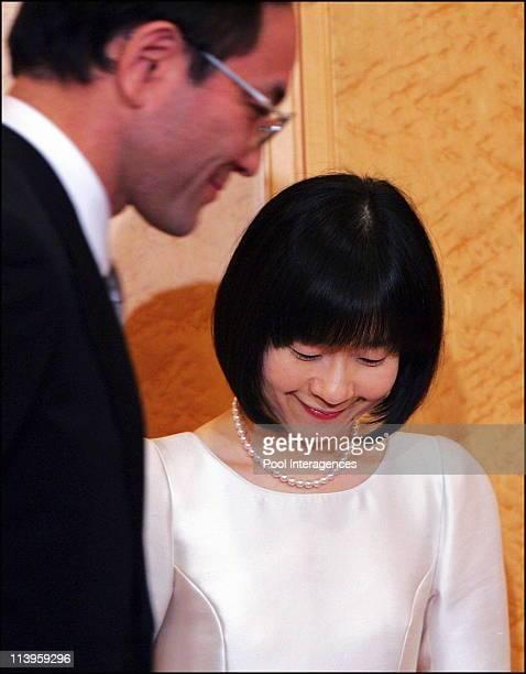 Japan's Emperor's youngest daughter Sayako speaks to reporters after her wedding ceremony in Tokyo Japan On November 15 2005 Sayako Kuroda follows...