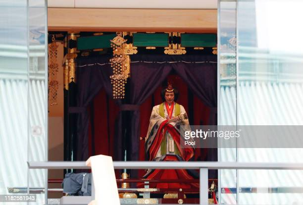 Japan's Empress Masako makes her appearance during a ceremony to proclaim Emperor Naruhito's enthronement to the world, called Sokuirei-Seiden-no-gi,...