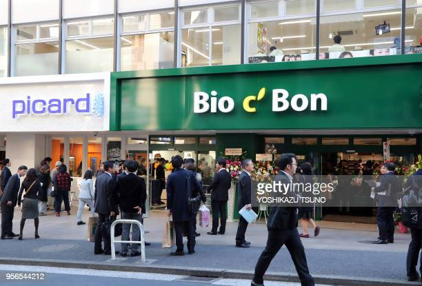 Japan's first French organic food supermarket Bio C'Bon and French frozen food maker Picard's shop open in Tokyo on December 9 2016 French organic...