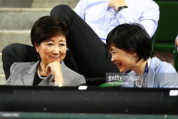 Japan's first lady Akie Abe and politician Yuriko Koike watch the men's singles semifinal match between Kei Nishikori of Japan and Benjamin Becker of...