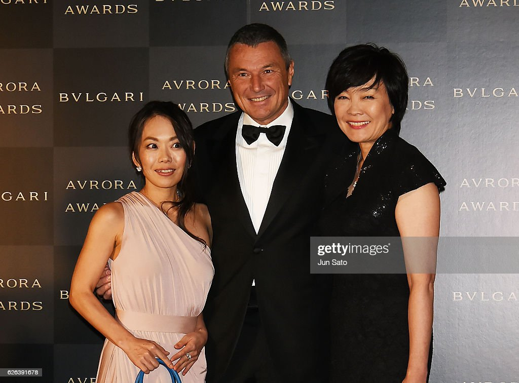 Japan's first lady Akie Abe, Bvlgari CEO Jean-Christophe Babin and Chigusa Tanaka attend the Bvlgari Avrora Awards at the Midtown Square on November 29, 2016 in Tokyo, Japan.