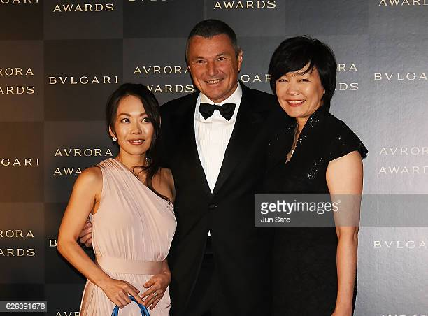 Japan's first lady Akie Abe Bvlgari CEO JeanChristophe Babin and Chigusa Tanaka attend the Bvlgari Avrora Awards at the Midtown Square on November 29...
