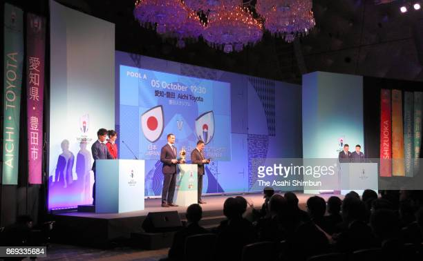 Japan's fixture is announced during the Rugby World Cup 2019 match schedule announcement at Grand Prince Hotel Shin Takanawa on November 2 2017 in...