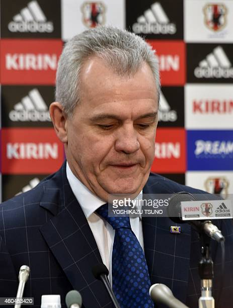 Japan's football coach Javier Aguirre announces his squad for the upcoming Asian Cup at a press conference in Tokyo on December 15 2014 Japan will...