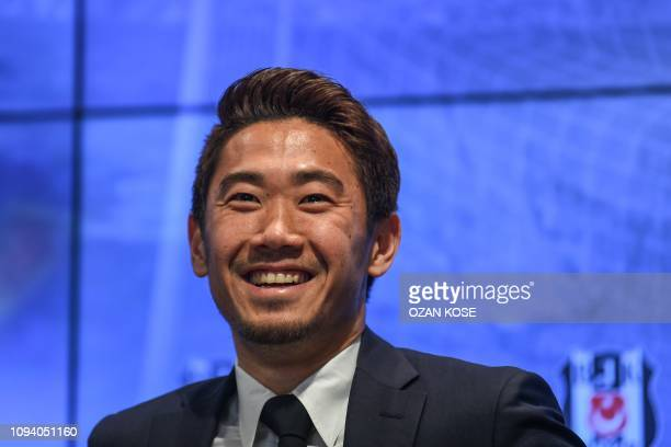 Japan's footballer Shinji Kagawa is presented to the press at Vodafone Park stadium in Istanbul on February 5 2019 Kagawa enjoyed a dream debut for...