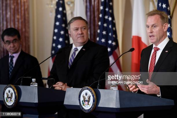 DC: Secretary Of State Mike Pompeo And Acting Defense Secretary Patrick Shanahan Welcome Their Japanese Counterparts To The State Department