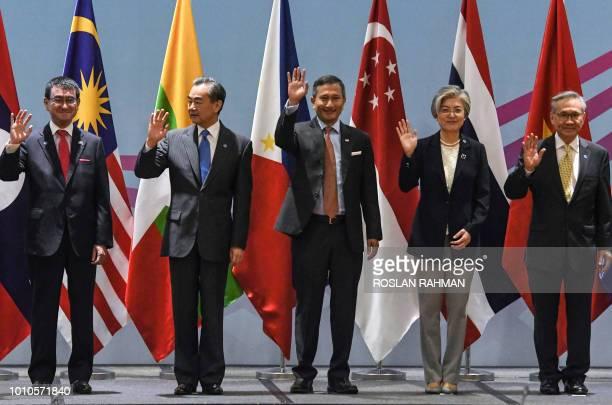 Japan's Foreign Minister Taro Kono China's Foreign Minister Wang Yi Singapore's Foreign Minister Vivian Balakrishnan South Korea's Foreign Minister...