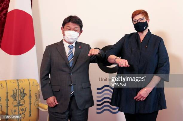 Japan's Foreign Minister Toshimitsu Motegi meets with Australia's counterpart Marise Payne on the sidelines of a gathering of G7 foreign ministers at...
