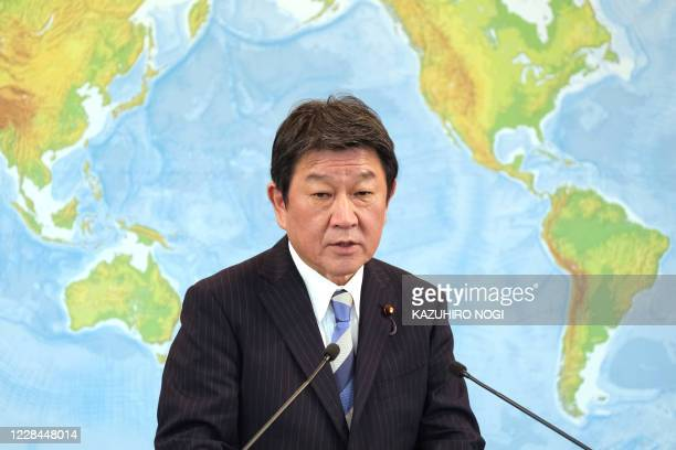 Japan's Foreign Minister Toshimitsu Motegi speaks during a press conference at the foreign minsitry in Tokyo on September 11, 2020. - Britain said it...