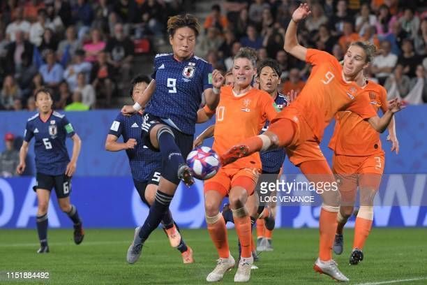 TOPSHOT Japan's forward Yuika Sugasawa vies with Netherlands' forward Vivianne Miedema during the France 2019 Women's World Cup round of sixteen...