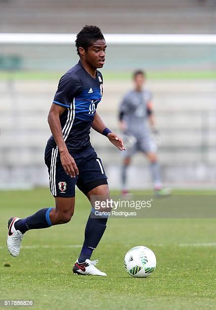 Japan's Foward Ado Onaiwu during the Friendly match between Japan U23 v Sporting Clube de Portugal B at Estadio Municipal de Rio Maior on March 28...