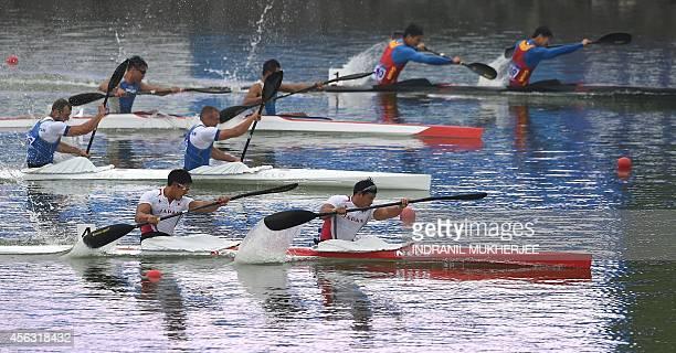 Japan's Fujishima Hiroki and Matsushita Momotaro lead during the men's kayak double 200m event of the 2014 Asian Games at the Hanam Mirasi...