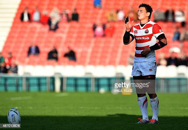 Japan's full back Ayumu Goromaru prepares to kick during the international rugby union friendly match between Georgia and Japan ahead of the 2015...
