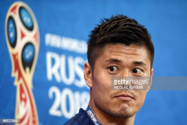 Japan's goalkeeper Eiji Kawashima attends a press conference on the eve of the Russia 2018 World Cup Group H football match between Japan and Poland...