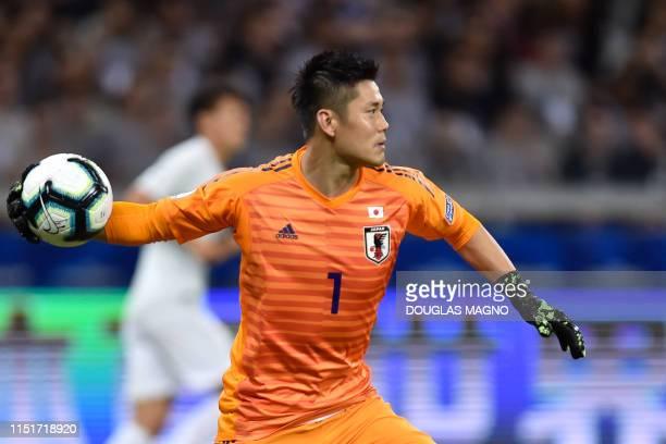 Japan's goalkeeper Eiji Kawashima reacts during their Copa America football tournament group match against Ecuador at the Mineirao Stadium in Belo...