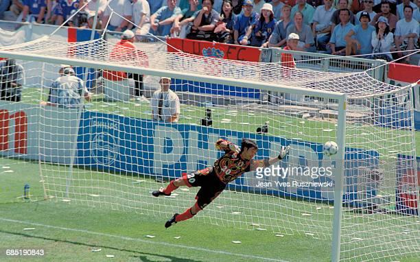 Japan's goalkeeper Yoshikatsu Kawaguchi during the 1998 Soccer World Cup match against Croatia