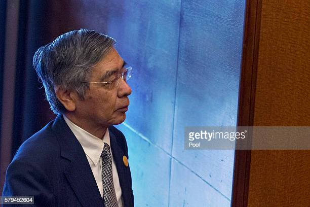 Japan's Governor of the Bank of Japan Haruhiko Kuroda attends the G20 Finance Ministers and Central Bank Governors meeting on July 24 2016 in Chengdu...