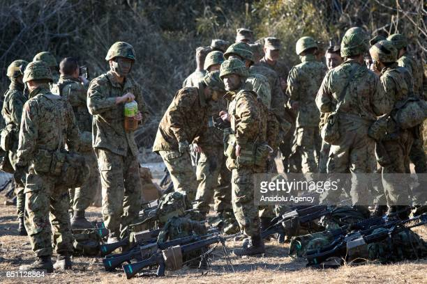 Japan's Ground Self Defense Force and the US Marines are seen during a joint training exercise in JGSDF Camp Soumagahara Gunma prefecture Japan on...