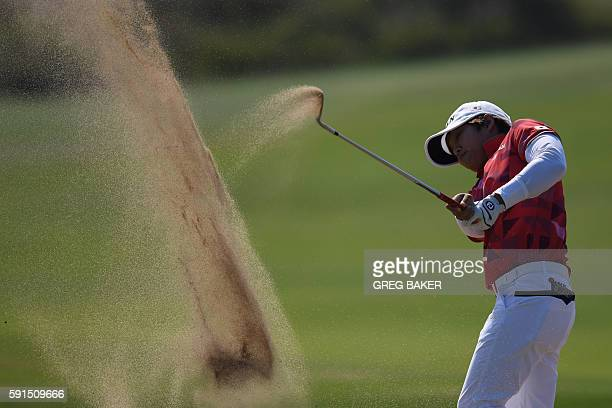 TOPSHOT Japan's Harukyo Nomura competes in the Women's individual stroke play at the Olympic Golf course during the Rio 2016 Olympic Games in Rio de...