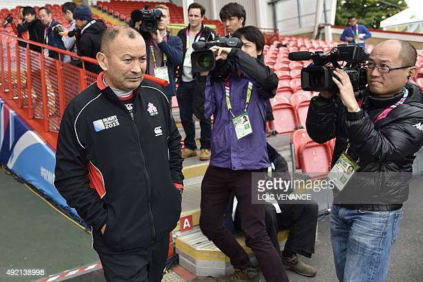 Japan's head coach Eddie Jones arrives for the captain's run training session in Gloucester southwest England on October 10 2015 on the eve of their...