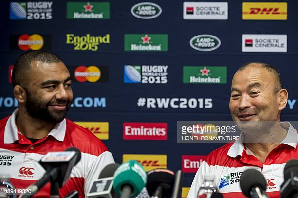 Japan's head coach Eddie Jones back row and captain Michael Leitch deliver a press conference at the Hilton Hotel in Brighton on September 21 during...