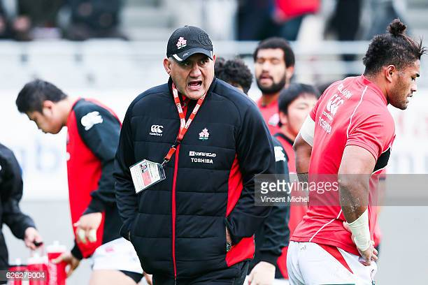 Japan's headcoach Jamie Joseph during the Test match between Fiji and Japan at Stade de la Rabine on November 26 2016 in Vannes France