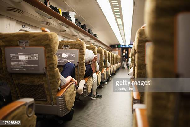 Japan's high-speed bullet trains - the shinkansen - offer luxury seating in their green cars, similar to first-class seating in airplanes. Hiroshima,...