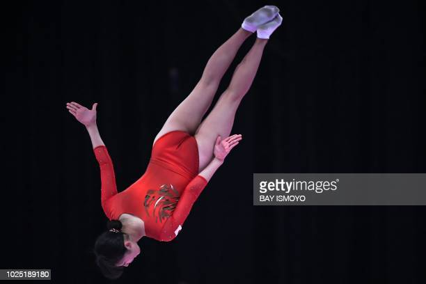 TOPSHOT Japan's Hikaru Mori performs in the women's trampoline gymnastics qualification at the 2018 Asian Games in Jakarta on August 30 2018