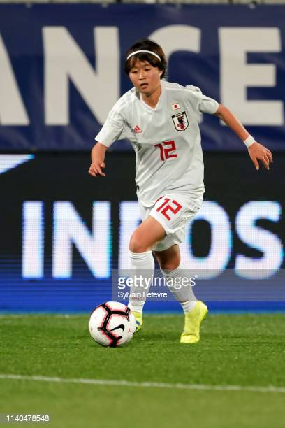 Japan's Hinata Miyazawa during women friendly soccer match France vs Japan at Stade de L'Abbe-Deschamps on April 04, 2019 in Auxerre, France.