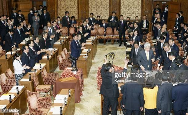 Japan's House of Representatives budget committee approves a record 9771 trillion yen budget in Tokyo on Feb 28 2018 for the upcoming fiscal year...