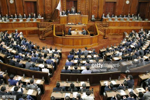 Japan's House of Representatives passes the governmentsponsored conspiracy bill during a plenary session at the Diet in Tokyo on May 23 2017 The...