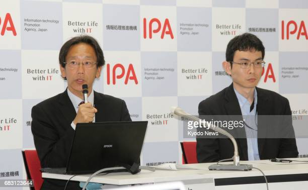 Japan's Informationtechnology Promotion Agency holds a press conference in Tokyo on May 14 2017 The number of countries affected by a massive...