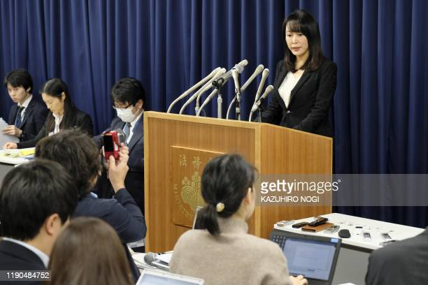 Japan's Justice Minister Masako Mori speaks during a press conference at the ministry in Tokyo on December 26 2019 Japan on December 26 hanged a...
