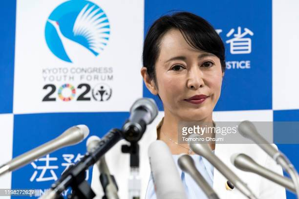 Japan's Justice Minister Masako Mori speaks during a press conference on January 09 2020 in Tokyo Japan Mori met with the media after the press...