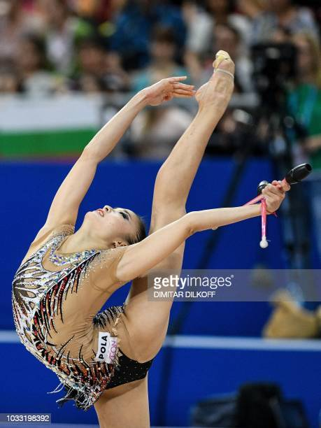 Japan's Kaho Minagawa performs during the individual allaround final at the World Rhythmic Gymnastics Championships at Arena Armeec in Sofia on...
