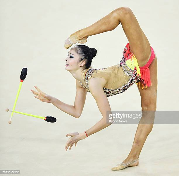 Japan's Kaho Minagawa performs during the rhythmic gymnastics individual allaround qualification round at the Rio de Janeiro Olympics on Aug 19 2016