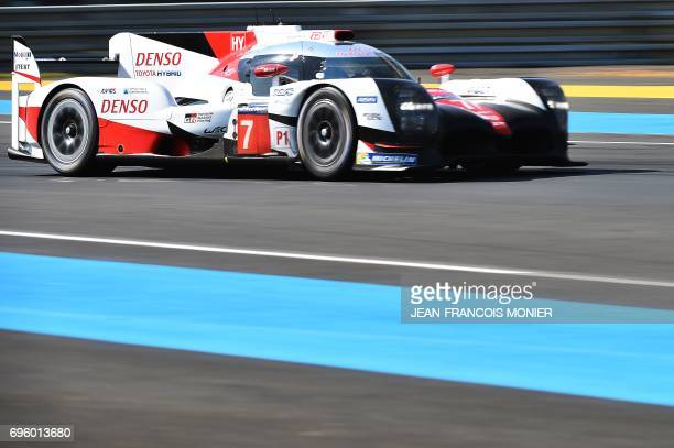 Japan's Kamui Kobayashi drives his Toyota TS050 Hybrid N°7 during a free practice session of the Le Mans 24 hours endurance race, on June 14, 2017 in...