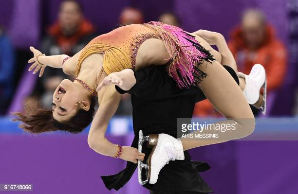 TOPSHOT Japan's Kana Muramoto and Japan's Chris Reed compete in the figure skating team event ice dance short dance during the Pyeongchang 2018...