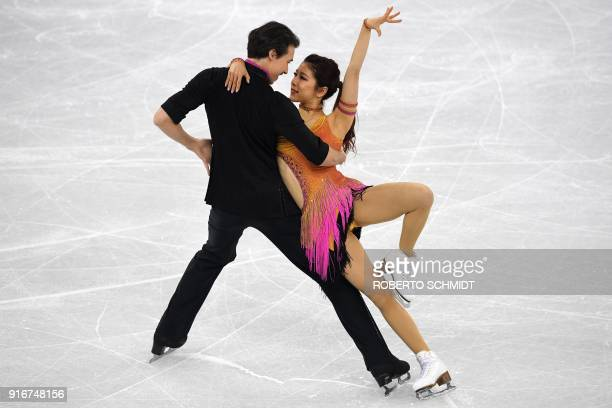 Japan's Kana Muramoto and Japan's Chris Reed compete in the figure skating team event ice dance short dance during the Pyeongchang 2018 Winter...