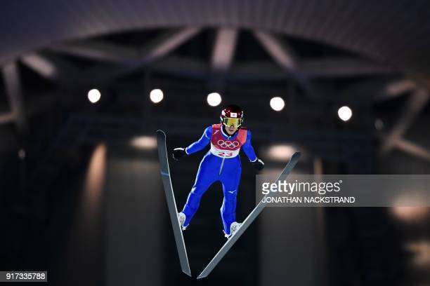 Japan's Kaori Iwabuchi competes in the women's normal hill individual ski jumping event during the Pyeongchang 2018 Winter Olympic Games on February...