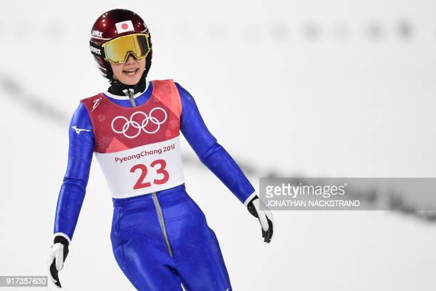 Japan's Kaori Iwabuchi competes in the women's normal hill individual ski jumping trial for competition event during the Pyeongchang 2018 Winter...