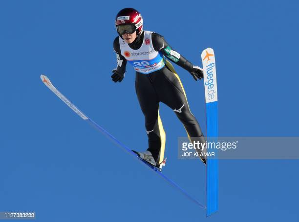 Japan's Kaori Iwabuchi takes a practice jump during a training of the women's ski jumping Normal Hill Individual event of the FIS Nordic World Ski...