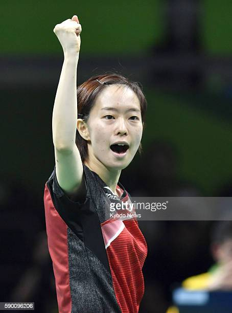 Japan's Kasumi Ishikawa plays during the bronze medal match in the women's table tennis team competition against Singapore at the Rio de Janeiro...