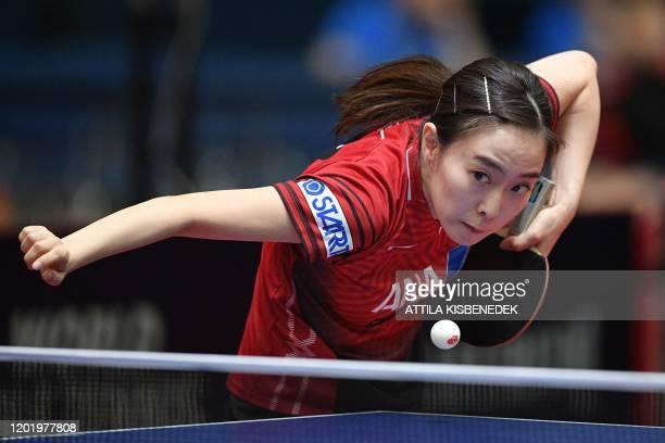 Japan's Kasumi Ishikawa returns to Japan's Haruna Ojio during the women's single round of 32 table tennis match at the ITTF World Tour on February...