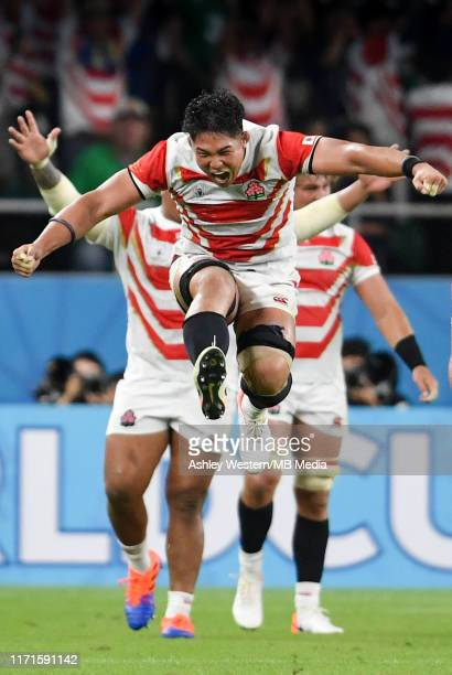 Japan's Kazuki Himeno celebrates at the final whistle after their 1912 victory in the Rugby World Cup 2019 Group A game between Japan and Ireland at...